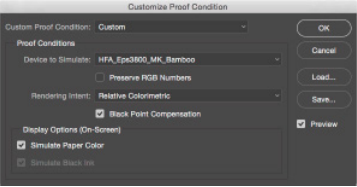 Figure 09: Software proofing lets you preview the potential effect paper and output choices will have on a print.